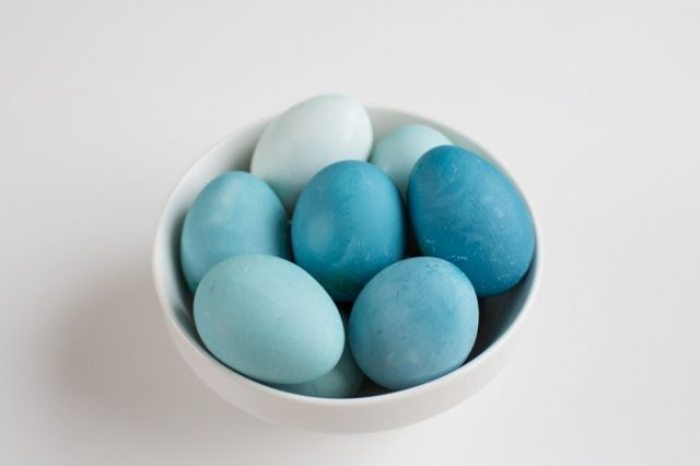 Naturally Dyed Eggs (with cabbage) - soak all eggs for about an hour, then each hour, take only one egg out. This will leave you with a varying shades of color.