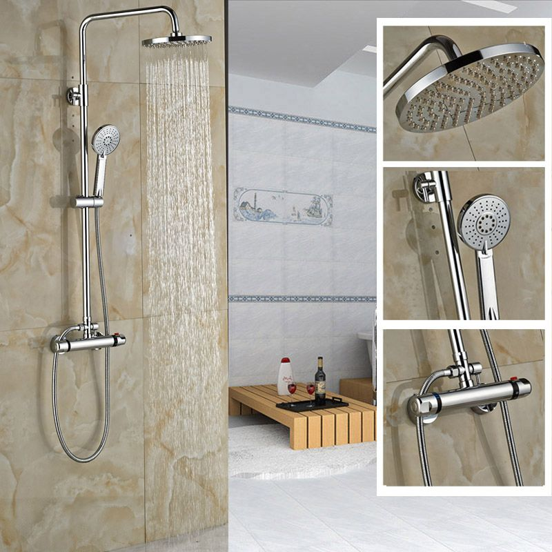 Wall Mounted Shower Faucet Set Thermostatic Bath Mixer Shower ...