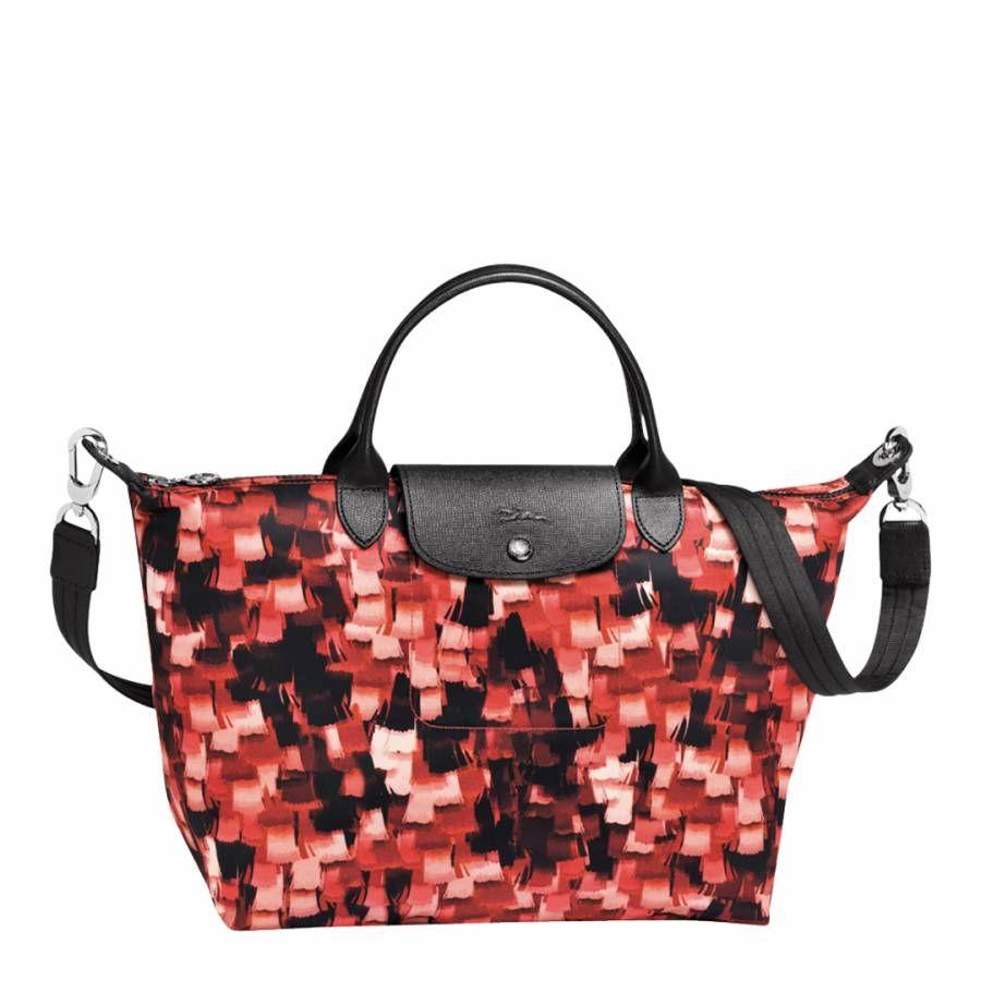 Red Le Pliage Neo Graphic Print Canvas Handbag  c5d1c630afb6e