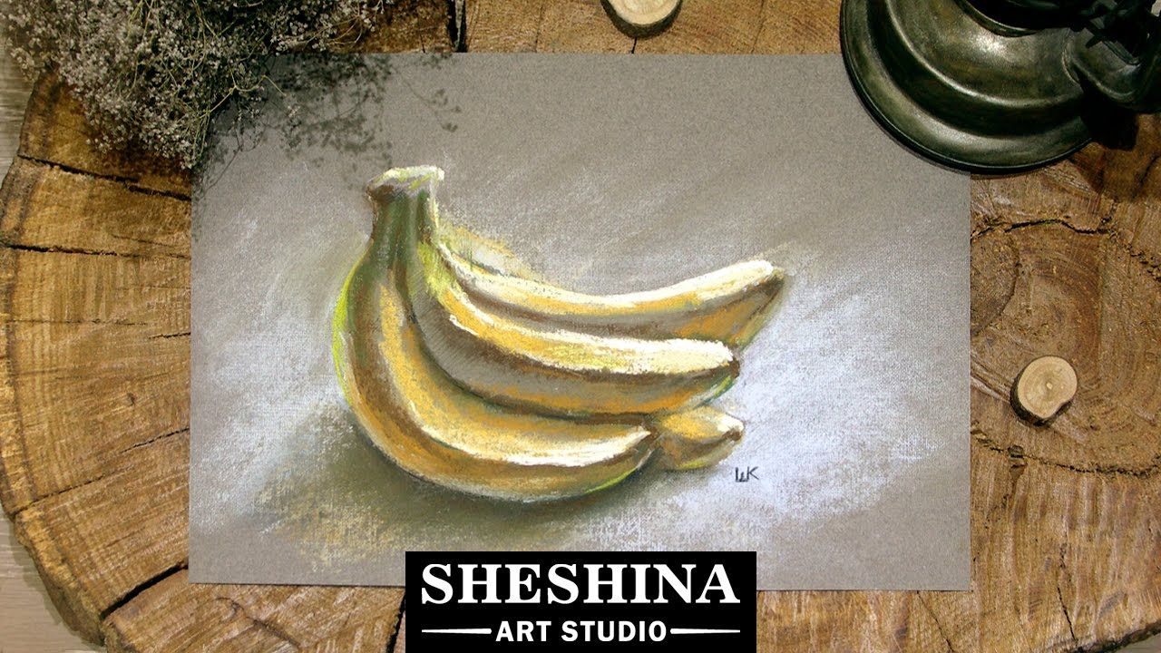How to draw bananas with soft pastels 🎨 Sheshina Ekaterina