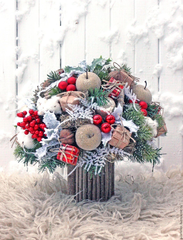 Купить Яблочный букет - ярко-красный, зимняя композиция, зимний букет, Новый Год, рождество