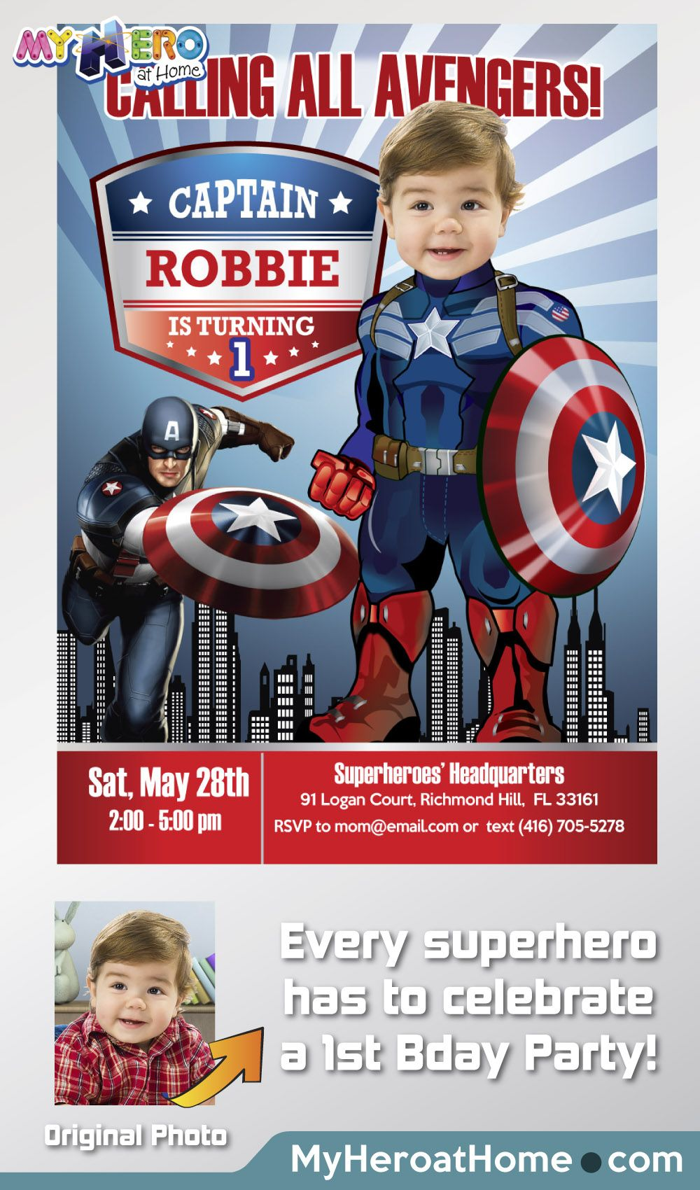 Captain America 1st Birthday Baby Captain America Party Captain America 1st Invitation Avengers 1st Party Captain America Digital 075b Captain America Birthday Party Captain America Birthday Captain America Party