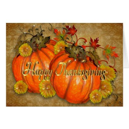 Happy Thanksgiving Card Rustic Pumpkins