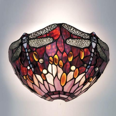 Red Dragonfly Tiffany Wall Light By Interiors 1900 64105 Wall Lights Tiffany Lighting Light