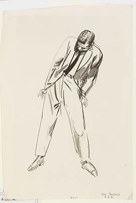 George Bellows - Estudo. Grafite s/ papel, 1900-25
