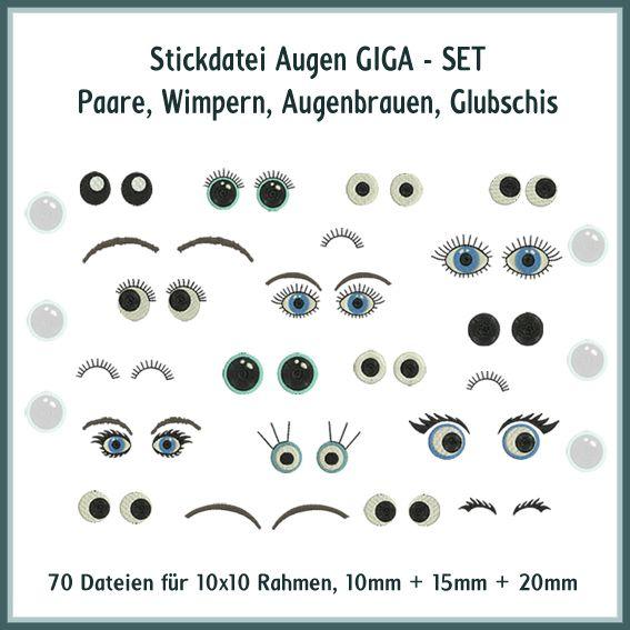 Augen und Wimpern Giga Set Stickdatei
