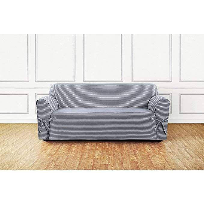 Sure Fit Horizontal Club Stripe 1 Piece Sofa Slipcover