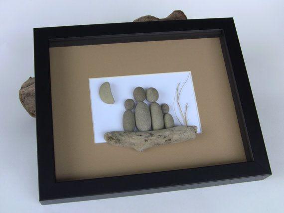 Custom Family Portrait Beach Stone Pebble Art Picture