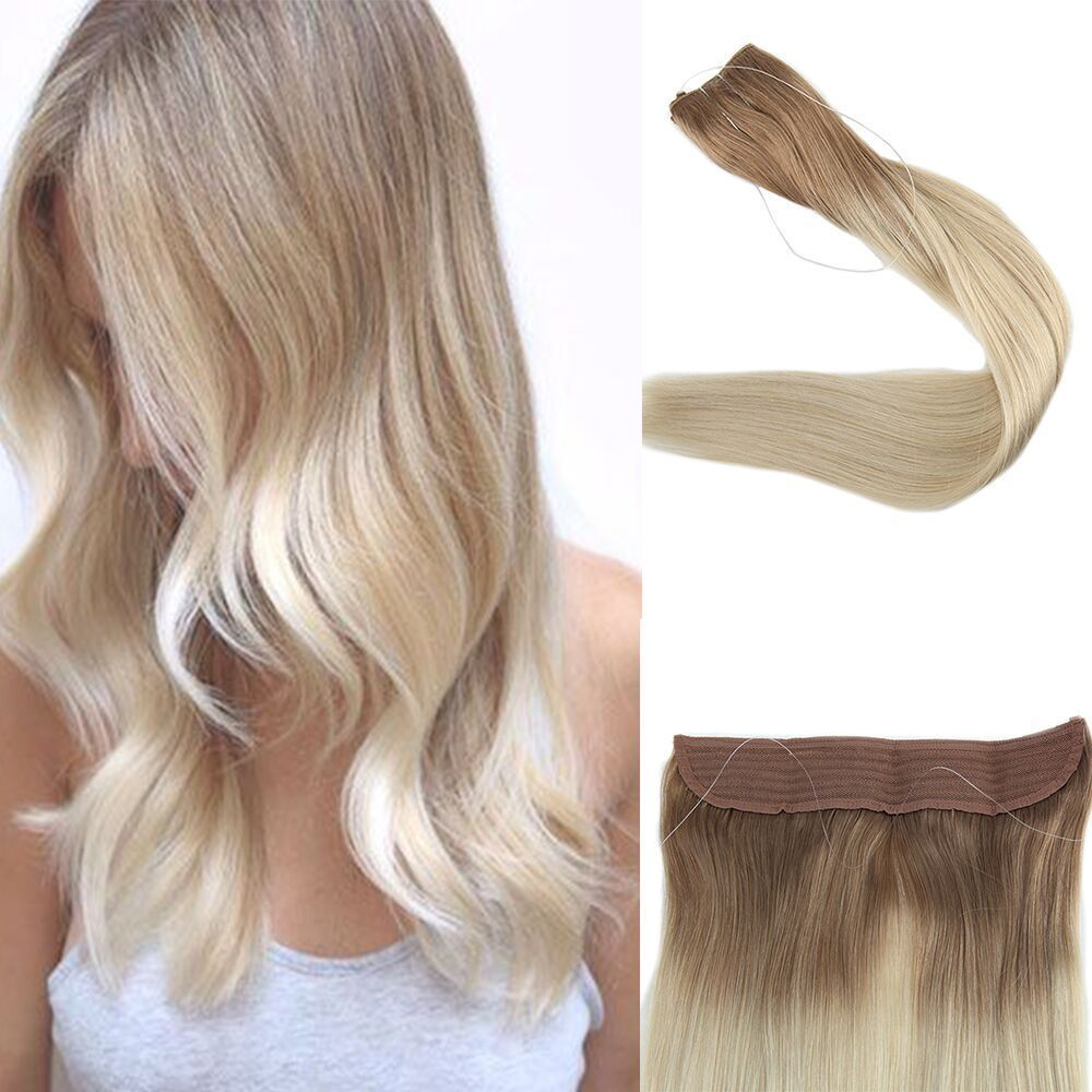 Flip Human Hair Extensions Blonde Ombre 6T/613 Double Weft with ...