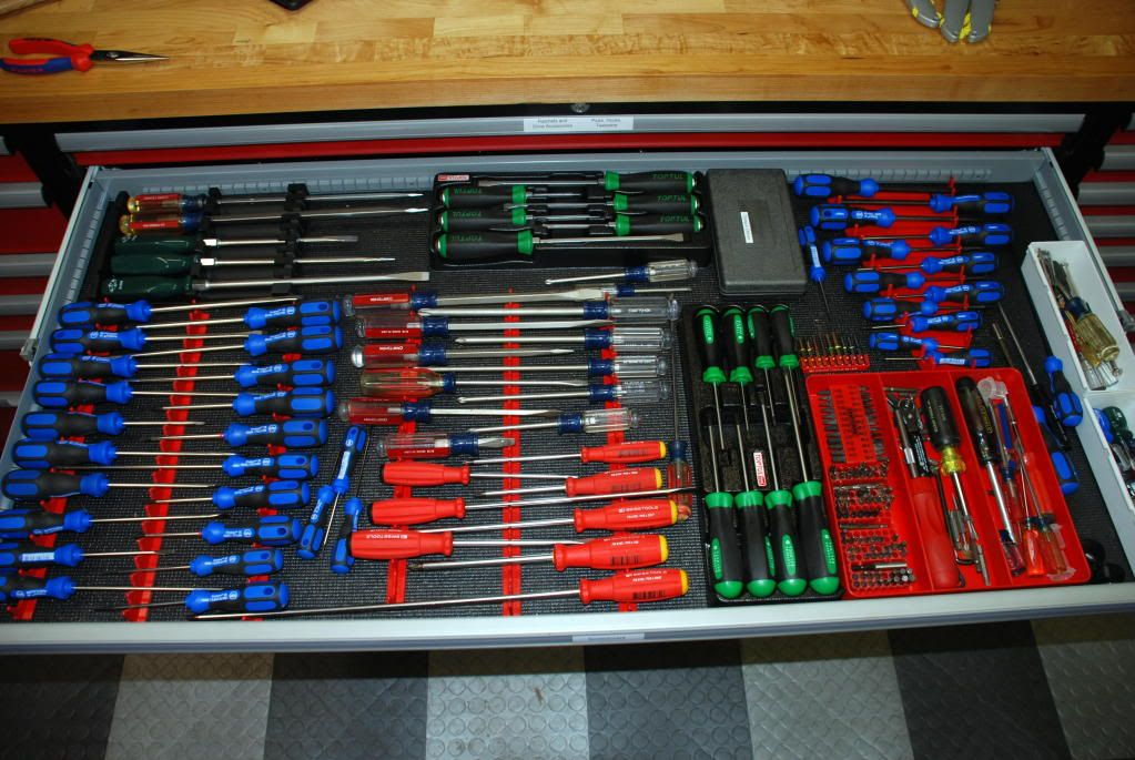 Screwdriver Holder For In Drawer Of Toolchest The Garage Journal Board Tool Chest Tool Box Organization Tool Storage