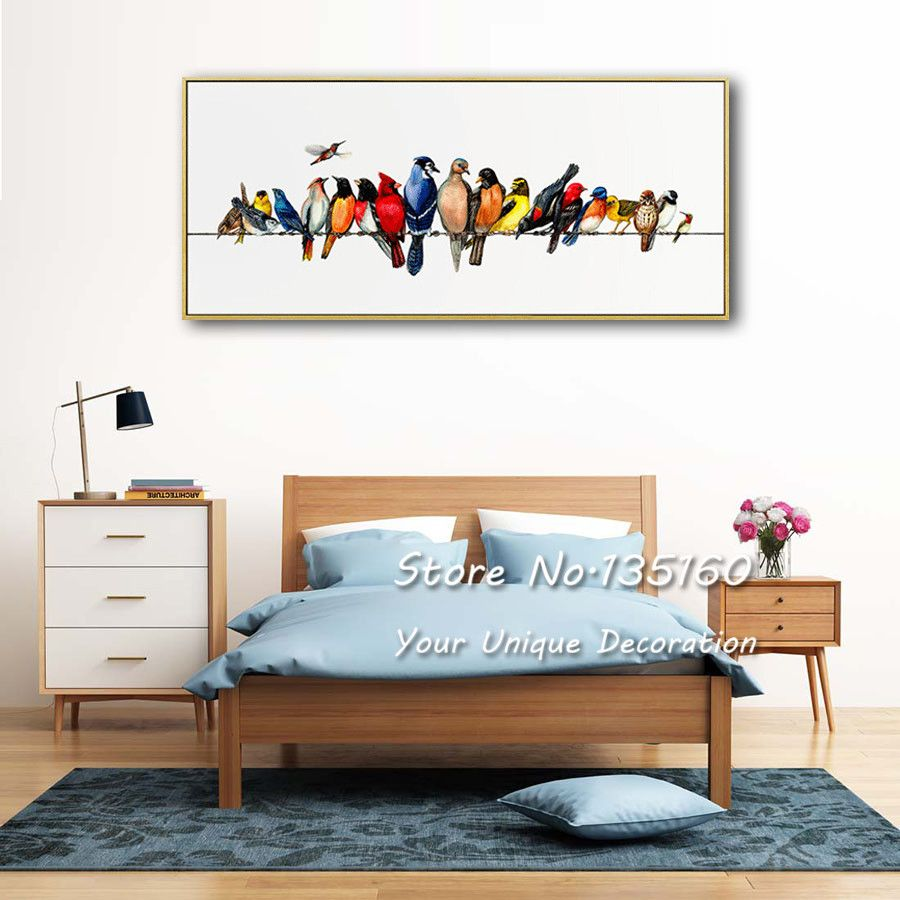Home Decoration Wall Painting Colored Birds Canvas Posters Large