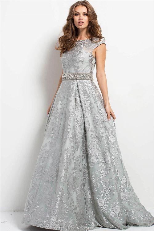 Jovani - 50078 Bateau Embellished Belt Evening Gown | MOB ...