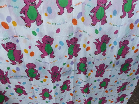 Barney The Dinosaur Bed Sheet 90s Barney Dinosaur