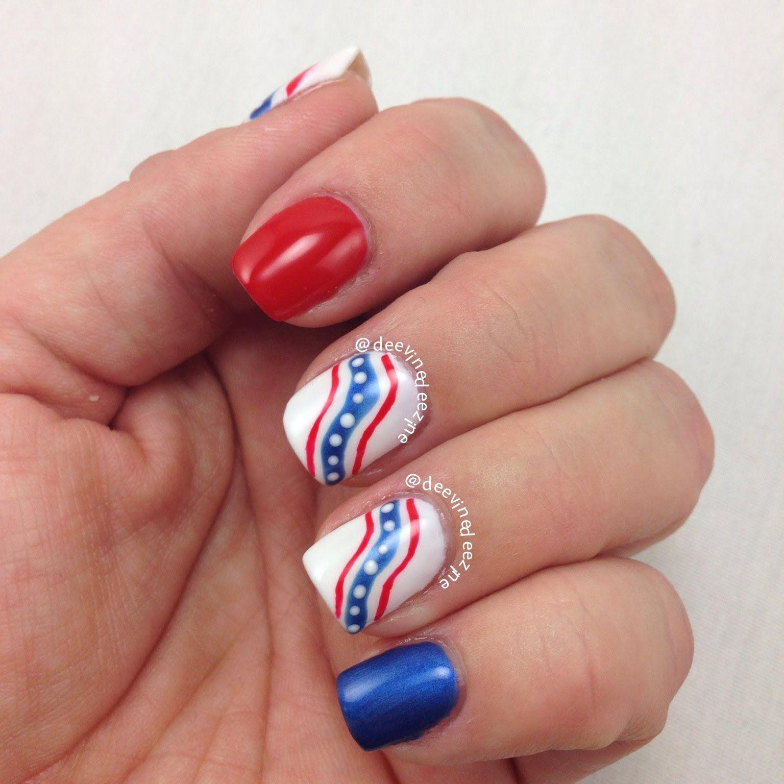 Christmas Nails Tutorial Youtube: Fourth Of July Ribbon Nail Art, 4th Of July, July 4th Nail