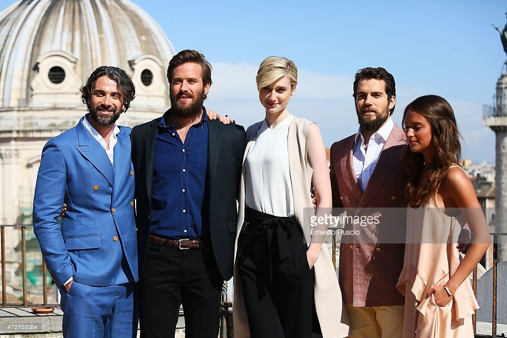 Actors Luca Calvani, Armie Hammer, Elizabeth Debicki, Henry Cavill and Alicia Vikander attend the 'The Man From U.N.C.L.E.' photocall at Civita on May 9, 2015 in Rome, Italy.
