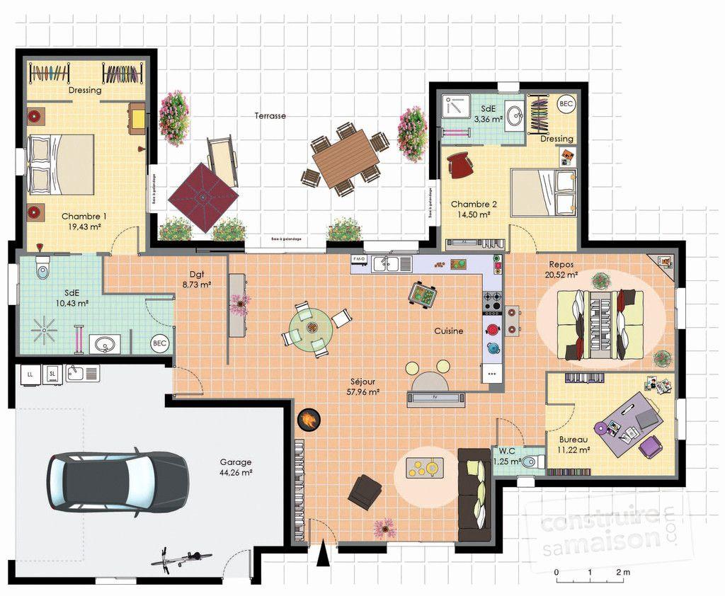 Plan Interieur Maison Plain Pied Plan Maison Plain Pied 3 Chambres Avec Suite Parentale De Meilleur Plan Maison Plain Pied Plan Maison Maison Plain Pied