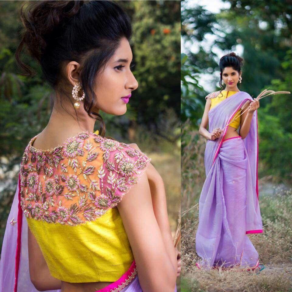 Saree blouse design cutting blouse is beautiful but saree is not  ethnicity  pinterest