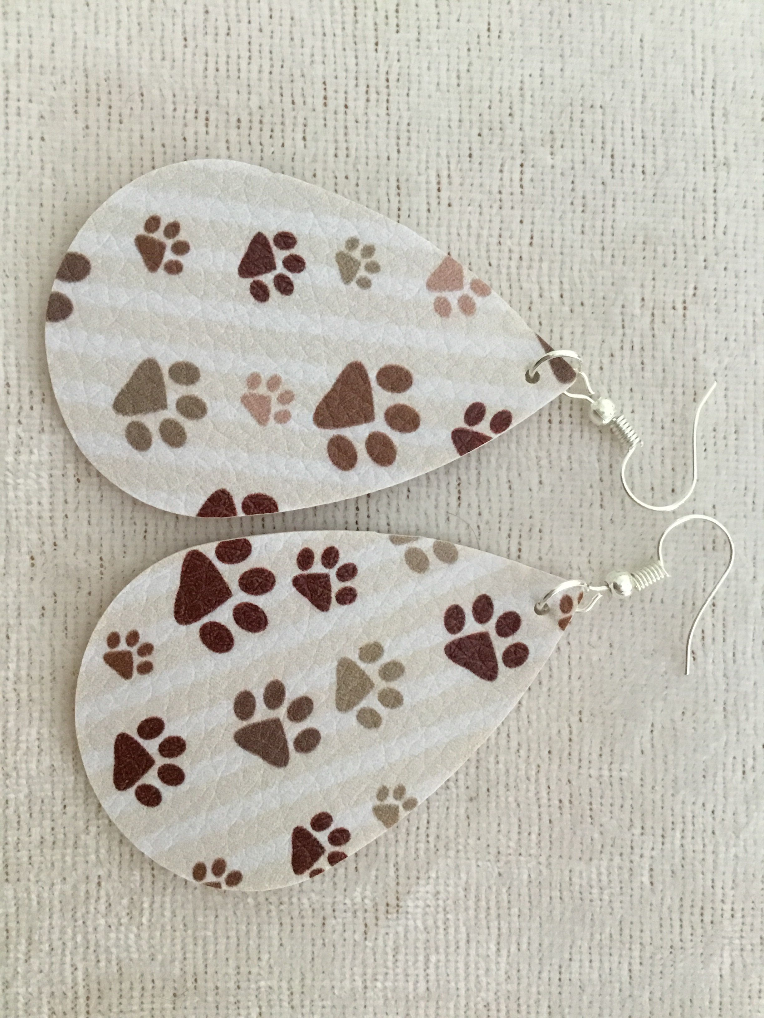 Paw Print Leather Earrings Stamped Paw Prints 3 Colors in