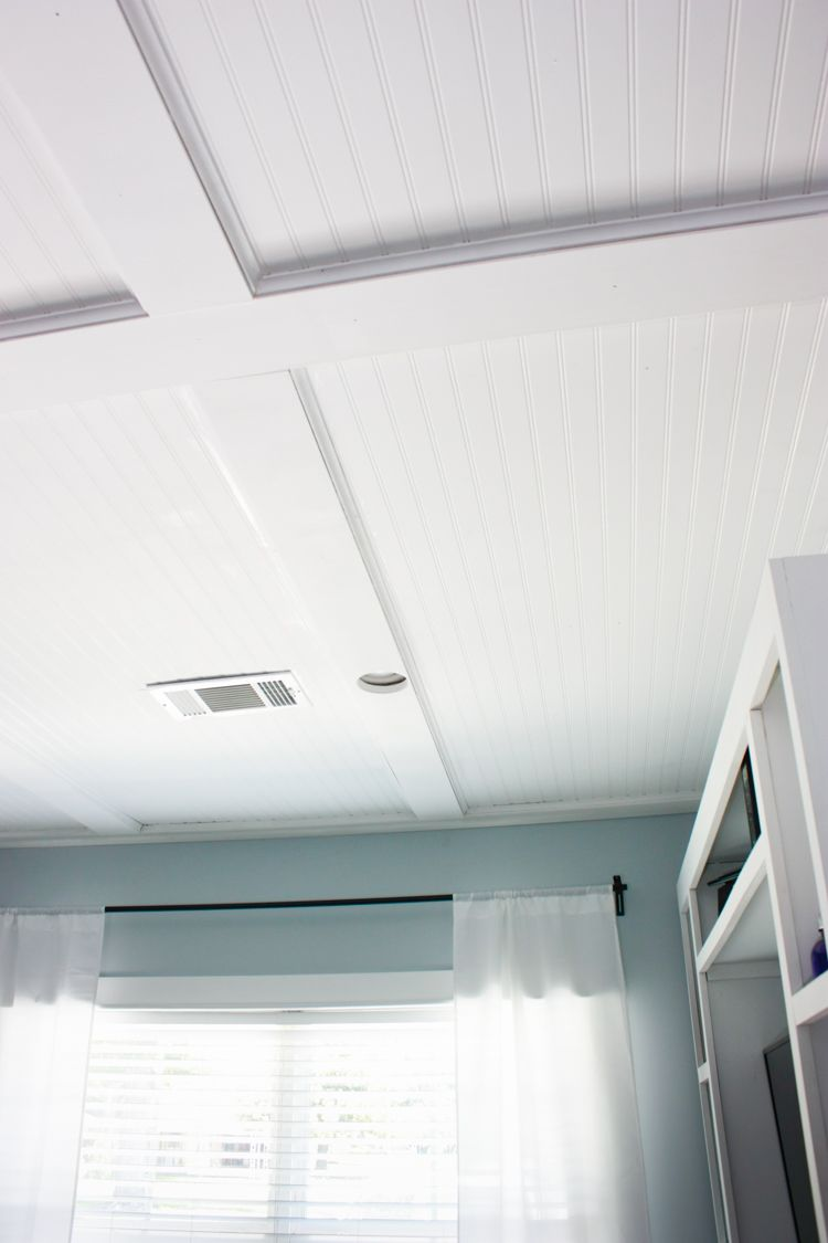 Faux Coffered Ceiling Using Beadboard And Moulding The Home