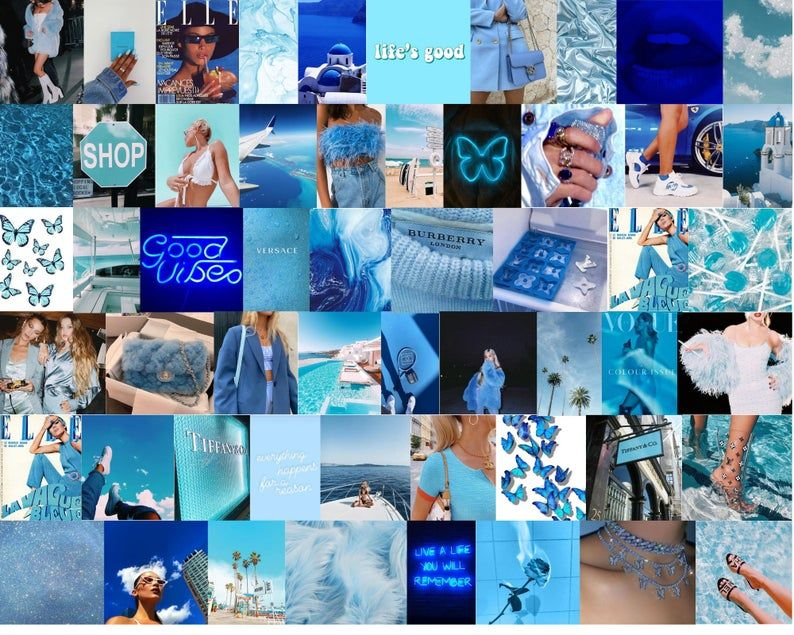 Boujee Blue Aesthetic Wall Collage Kit Digital Download 60pcs Wall Collage Blue Aesthetic Aesthetic Collage Iphone blue collage wallpaper