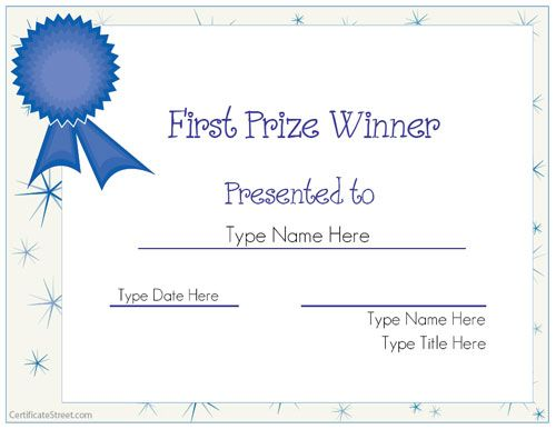Great website to create your own FREE Certificates! No - first place award certificate