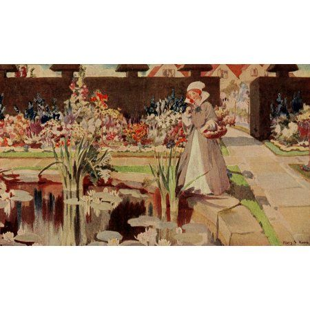 Every Womans Flower Garden 1915 Pond Canvas Art - Mary S Reeve (24 x 36)