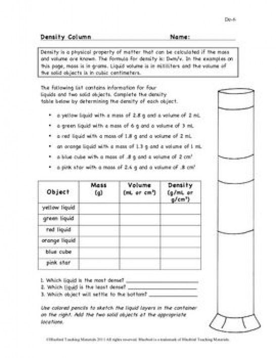 Density Column Worksheet De-6 #physicalscience #physical # ...