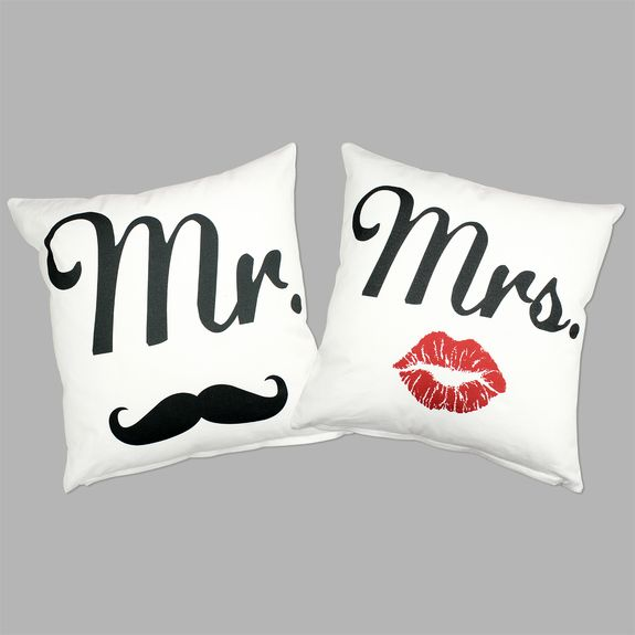Cushion Typography - Mr & Mrs Cushion Cover Set – Black & White