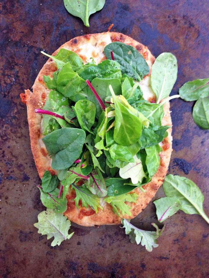 Superfood Salad Naan Pizza