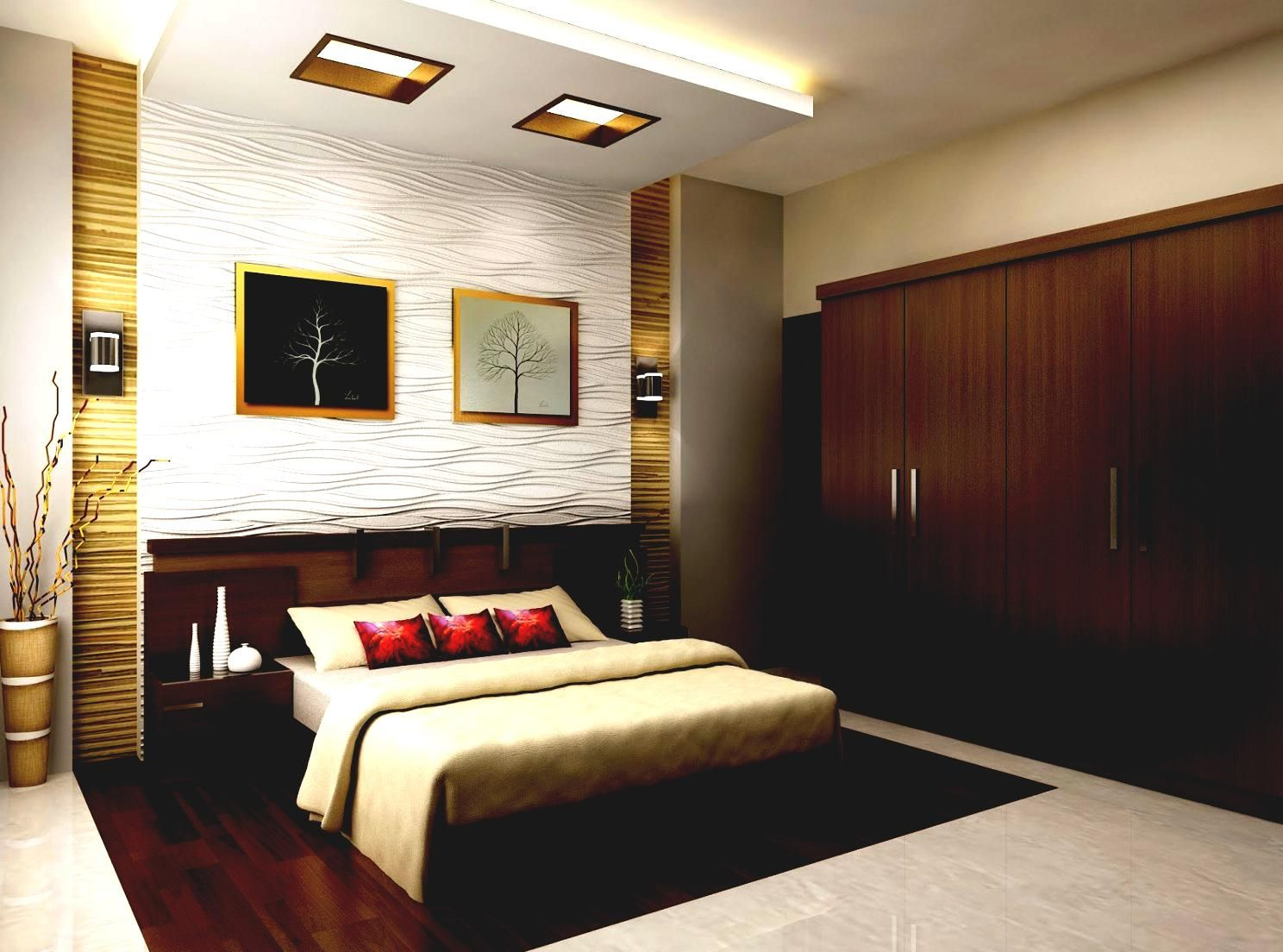 Excellent House Interior Design Ideas For Small House With Carpet Floor And Decorative Plant F Master Bedroom