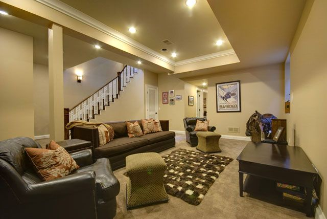 Basement Family Room With Nine Foot Tray Ceiling Home
