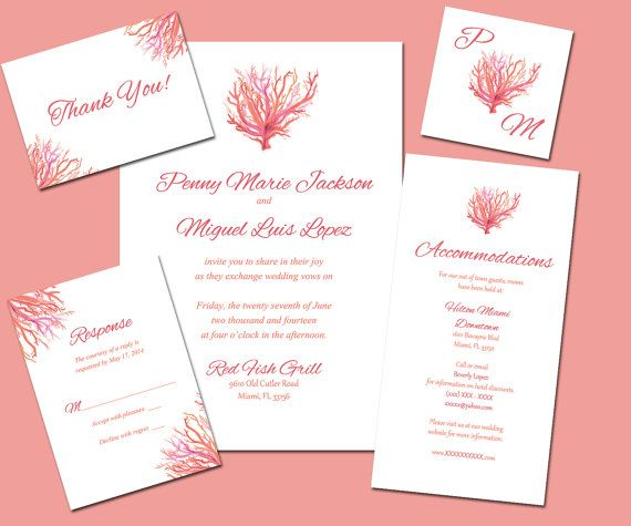 LIMITED EDITION Coral Reef Printable Personalized Wedding Invitation Suite