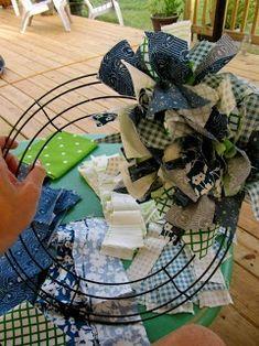 Photo of Fabric Wreath DIY Tutorial – wire wreath, 2 yards fabric (8 fat quarters) cut in …