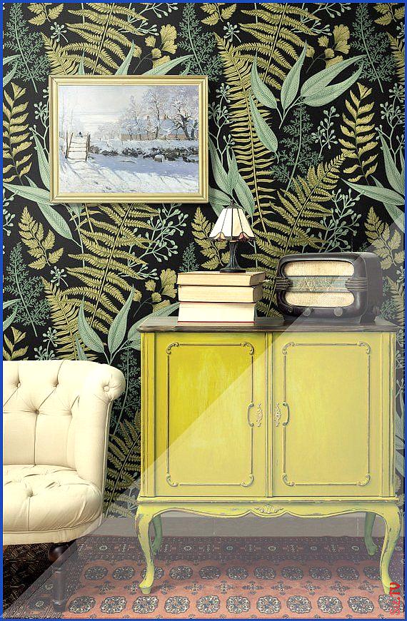 Wallpaper Tropical Botanical Jungle Olive Sage 038 Spring Green Fern Leaves on Black Background Line Drawing Antique Illustration Removable Wallpaper Tropical Botanical J...