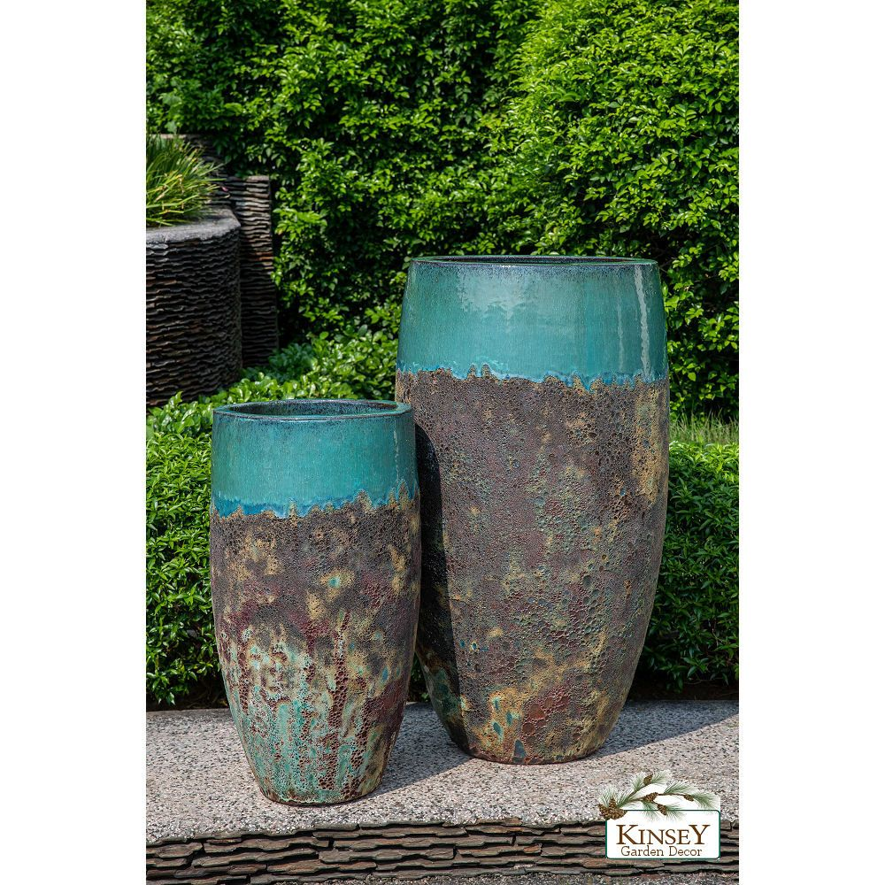 Kinsey Garden Decor Planter Angkor Teal Blue Green Glazed Ceramic Indoor Outdoor Unique Extra Tall Floor Vase Deco Ceramic Planters Planters For Sale Planters
