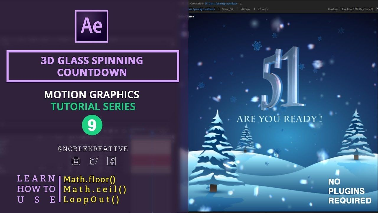 3d Glass Spinning Countdown In After Effects Motion Graphics Tutorial Countdown After Effect Tutorial