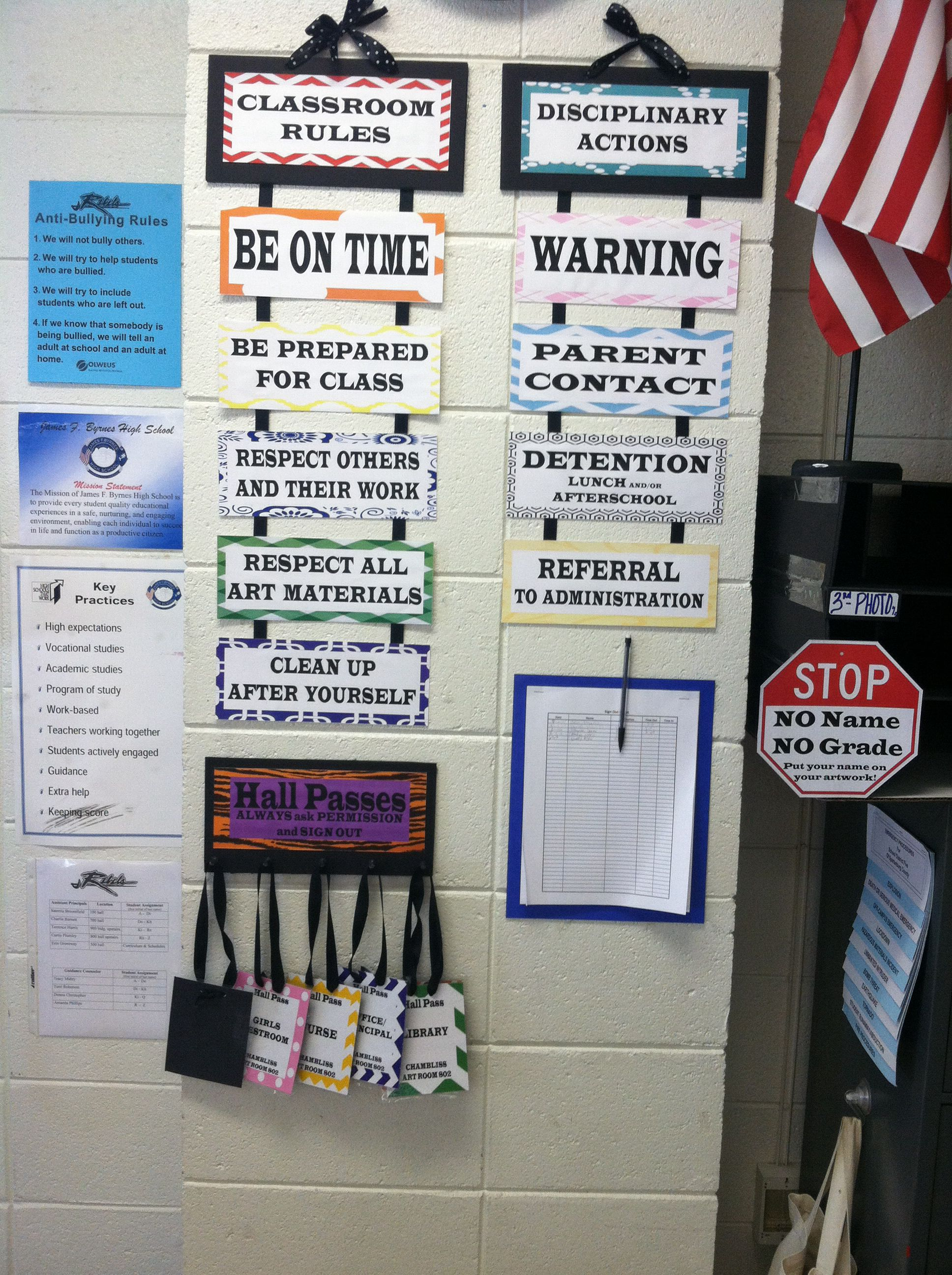 Classroom Ideas For High School ~ Rules discipline and hall passes display in my high
