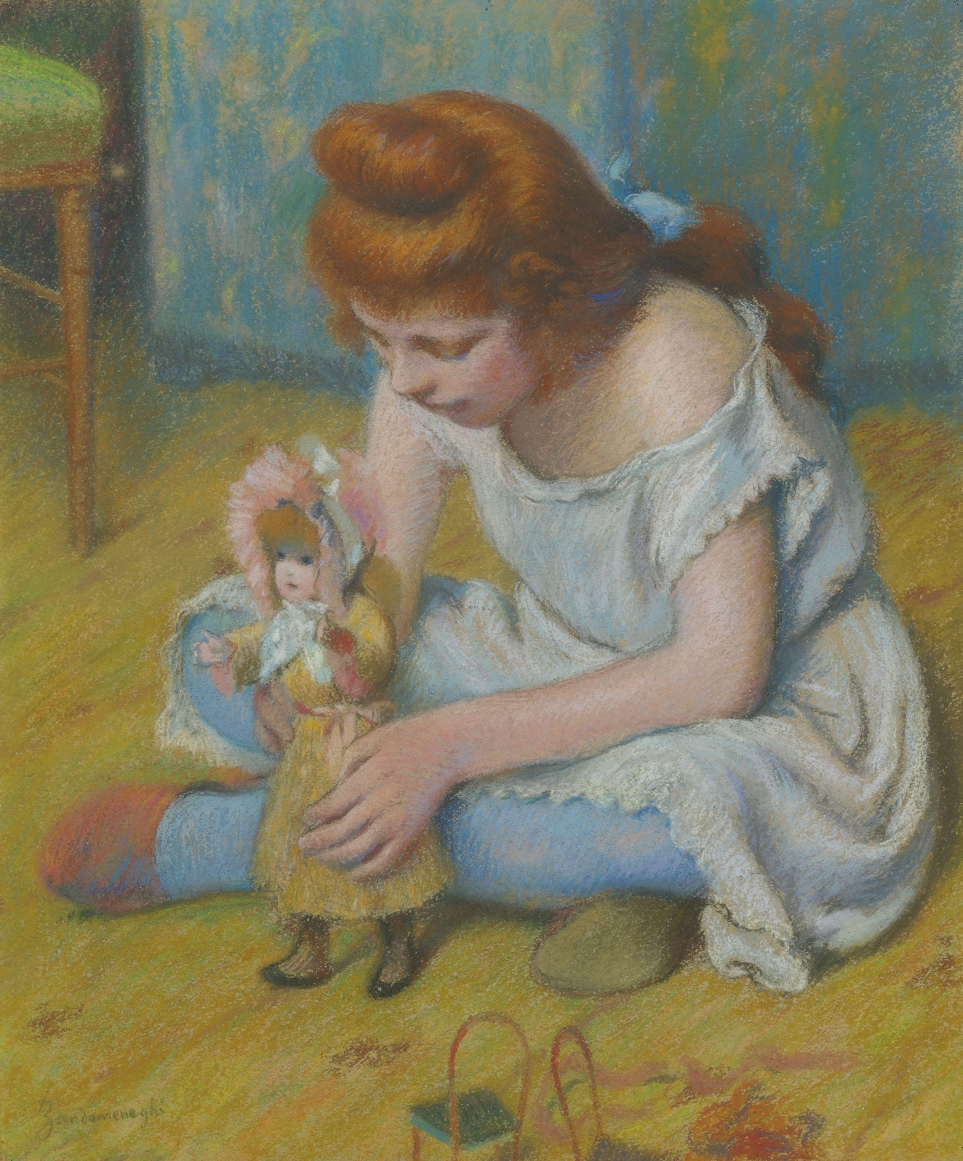 Federico Zandomeneghi (1841-1917) Enfant Jouant A La Poupee (54,6 by 45,7 cm)