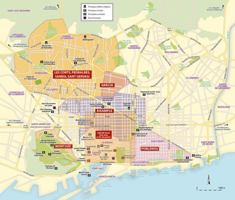 Carte Barcelone Quartier.Cartes Et Plans Detailles De Barcelone Barcelona