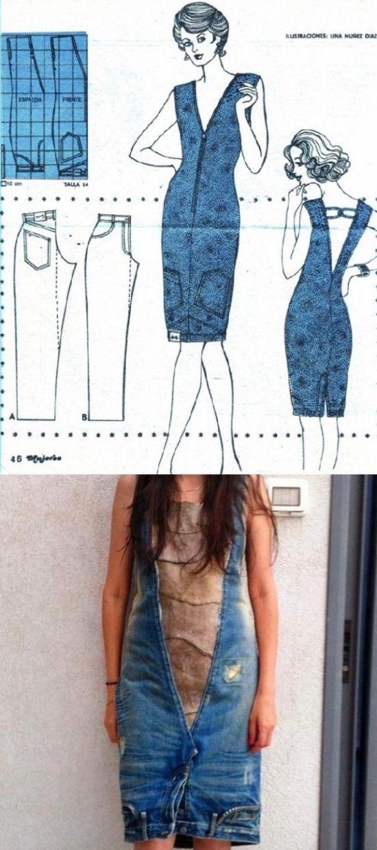 Upside Down Jeans Dress Tutorial   costura   Pinterest   Costura ...