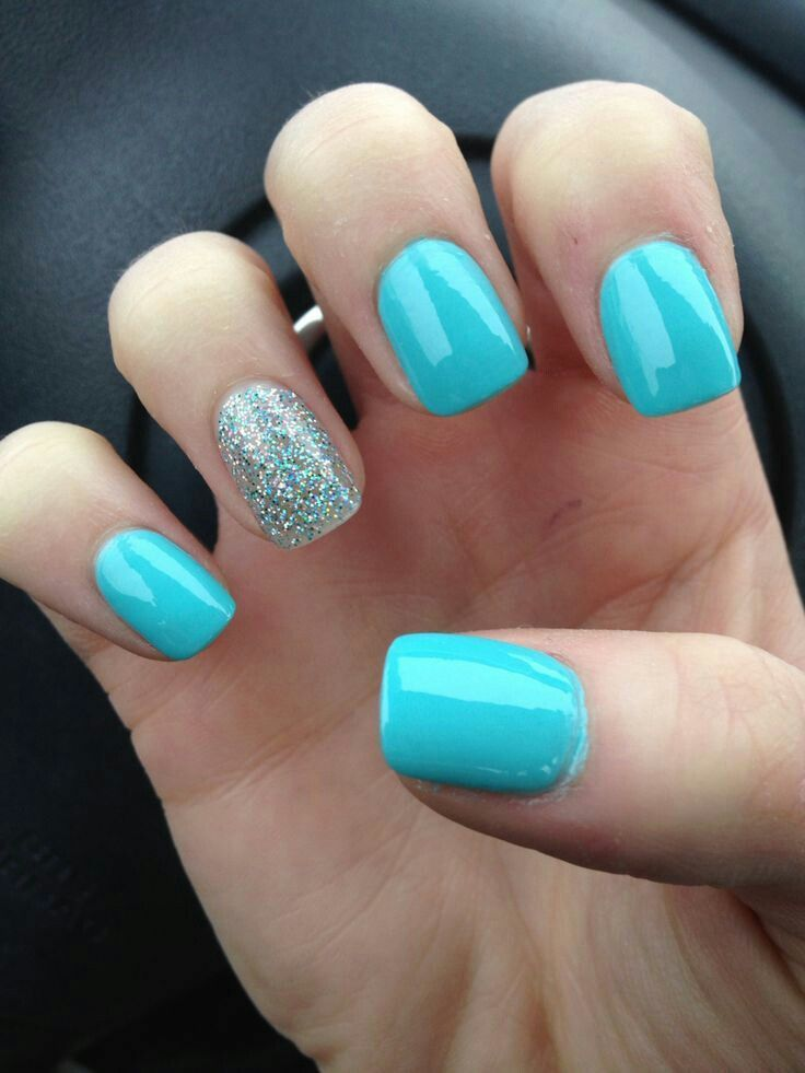 Light Blue Nail Polish With Glitter Ring Finger Designs