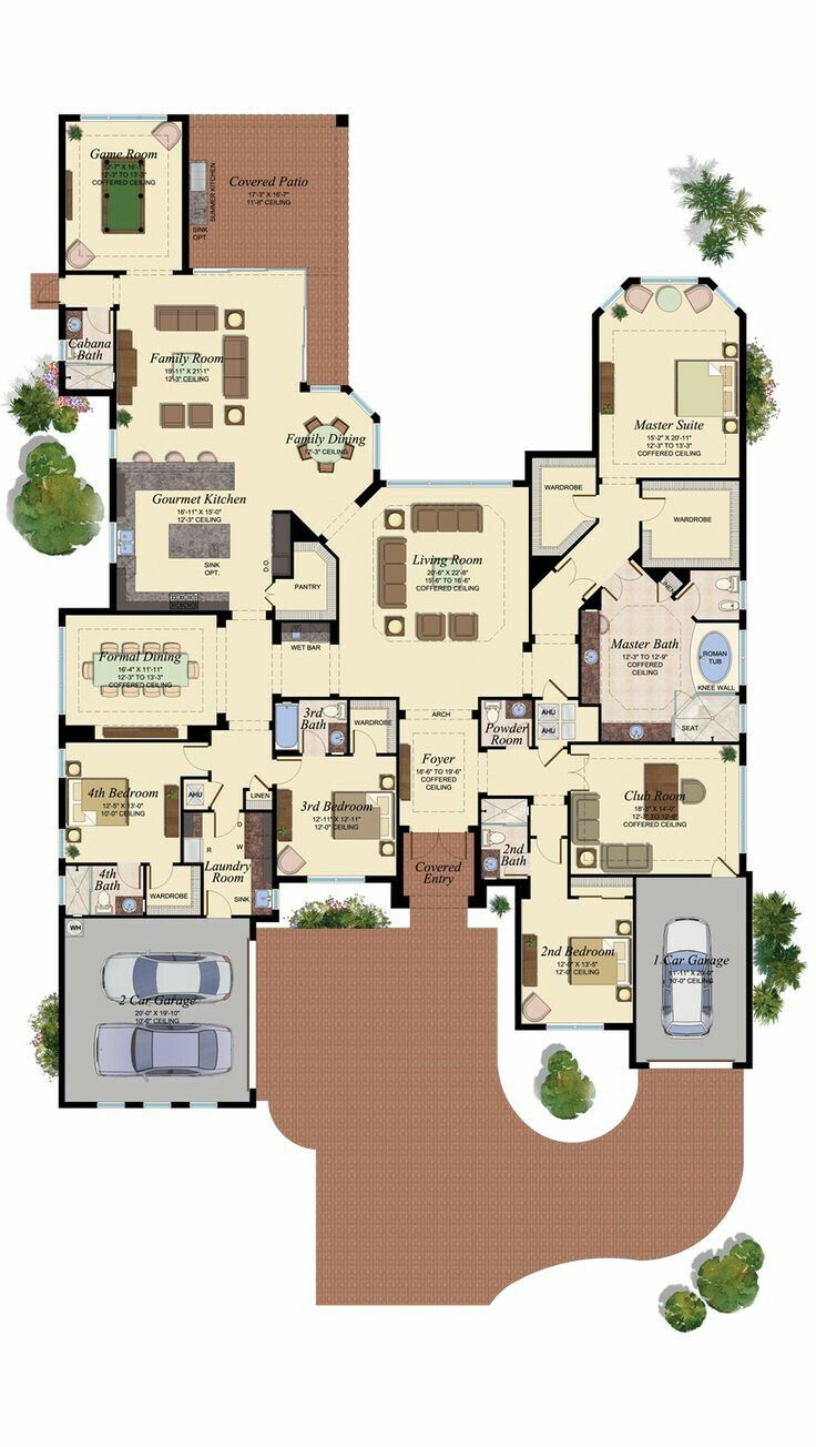 Need A Fireplace In The Club Room Great Room Family Room And Master Unique House Plans House Layouts Dream House Plans