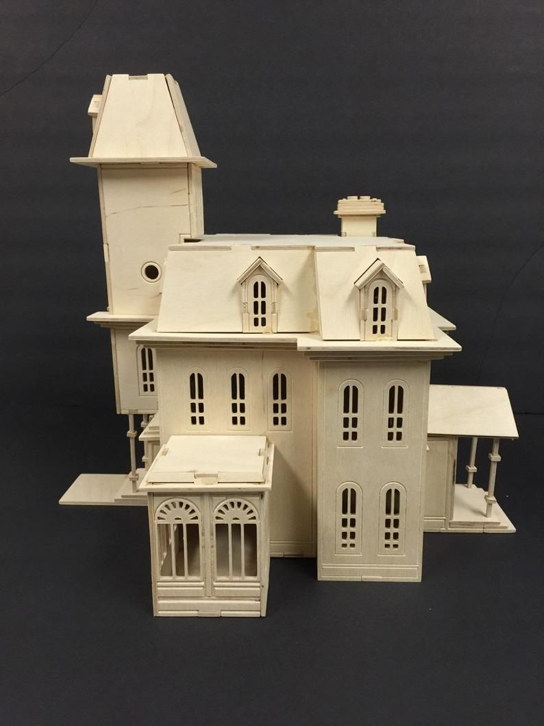 Addam s Family House Model Kit Halloween Decor Laser Engraved Wooden Model 3D Puzzle TV Show H