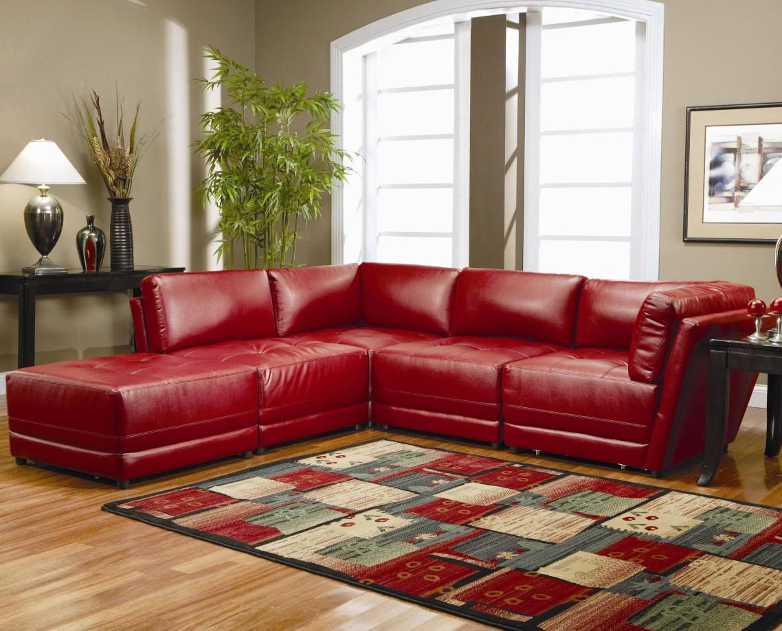 Modern Living Room Design Ideas Terrific Red Faux Leather Sectional ...