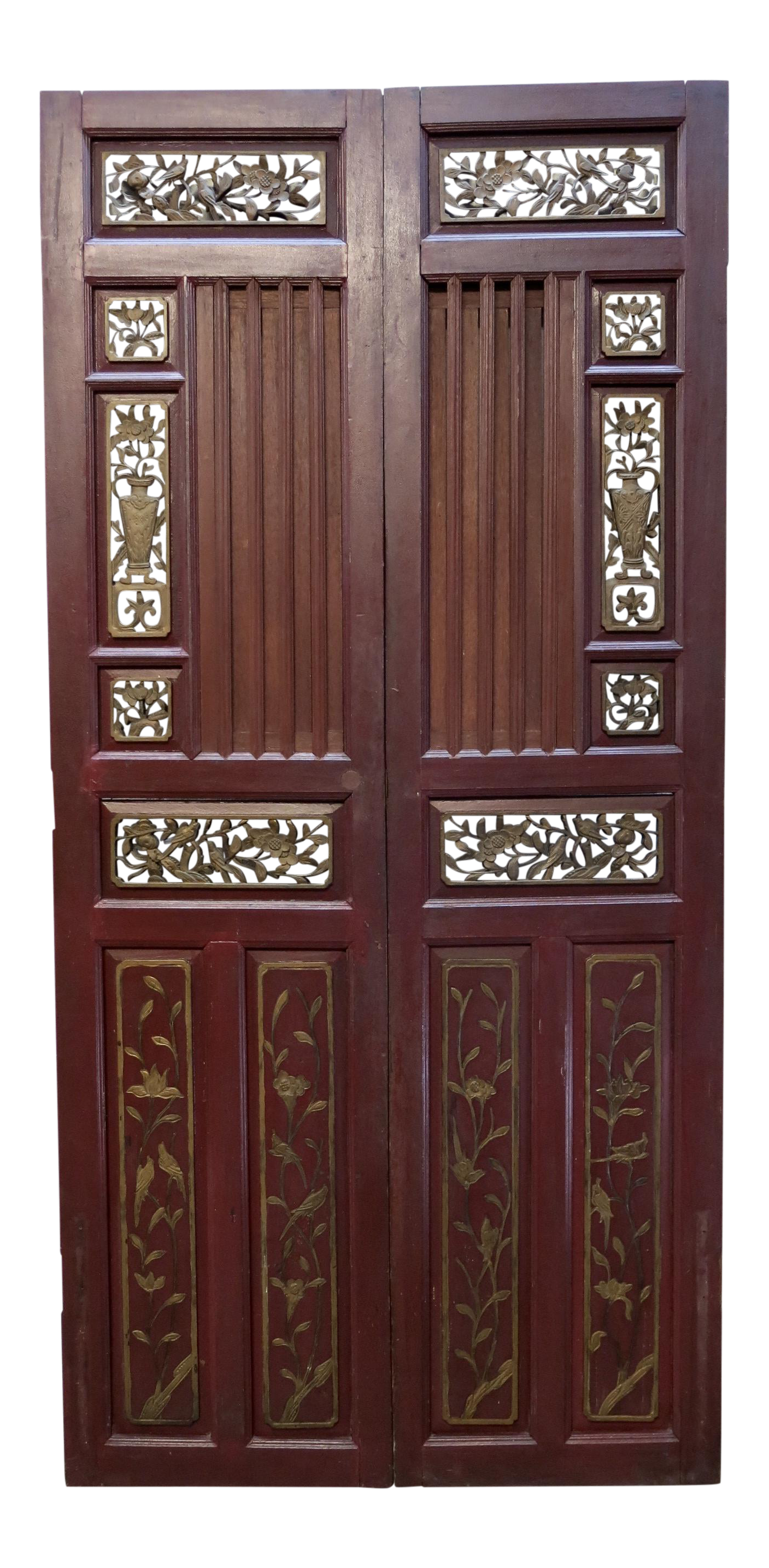 Antique Chinese Hand Carved Wooden Doors - a Pair - Antique Chinese Hand Carved Wooden Doors - A Pair Hand Carved