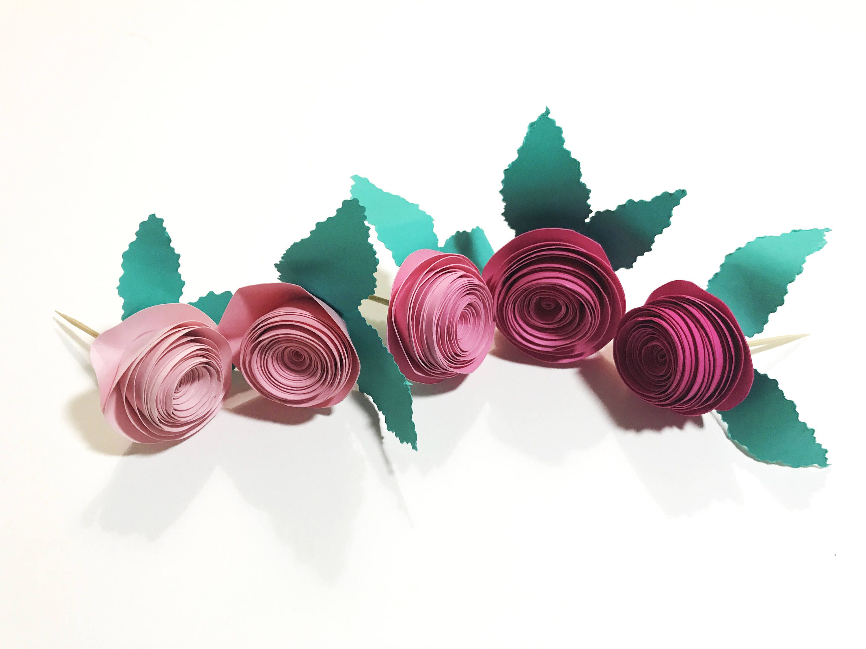 Rose Flower Cupcake Toppers Tea Party Birthday Bridal Shower