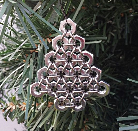 hex nut christmas ornament silver christmas tree chainmaille ornament metal christmas. Black Bedroom Furniture Sets. Home Design Ideas