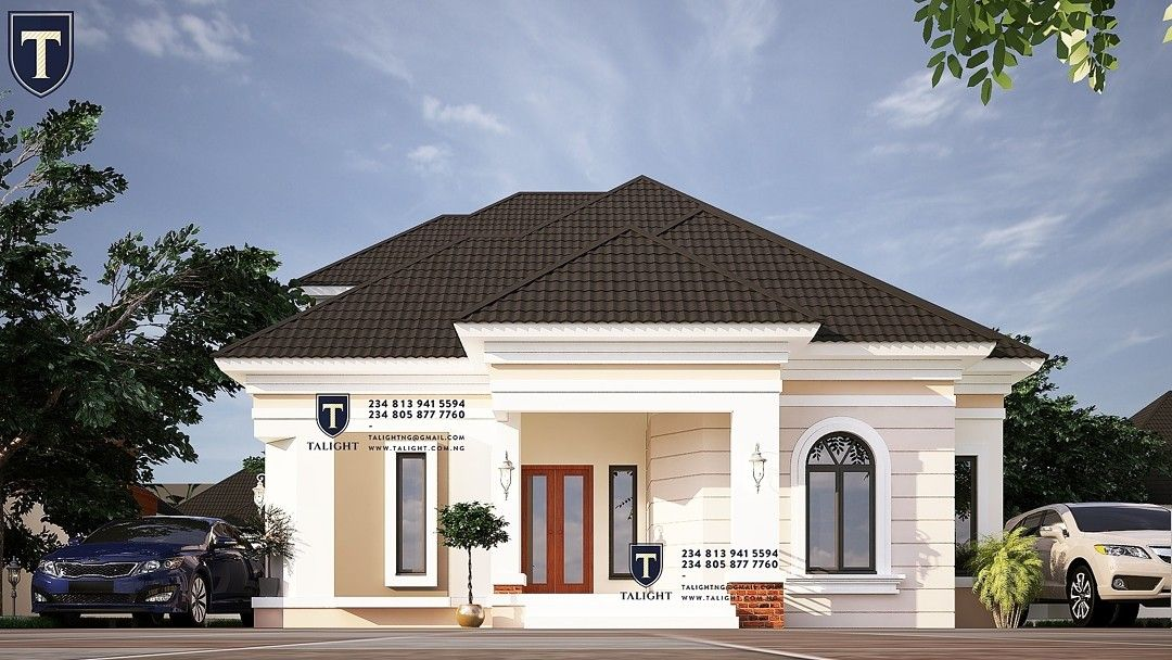 Architectural Design Of Four Bedroom Bungalow With Penthouse In Nigeria Duplex House Design Modern Bungalow House Plans Bungalow House Design