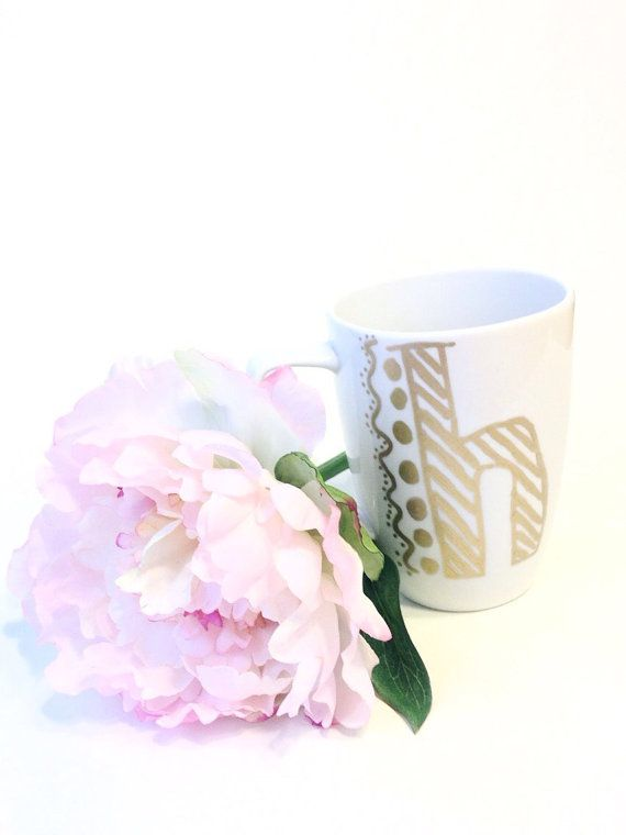 Monogrammed coffee mug. by thepinkcaterpillarr on Etsy