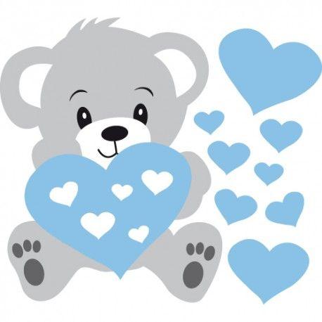 Sticker de nounours bleu et gris avec des coeurs pour d corer une chambre de b b d coration - Coeur nounours ...